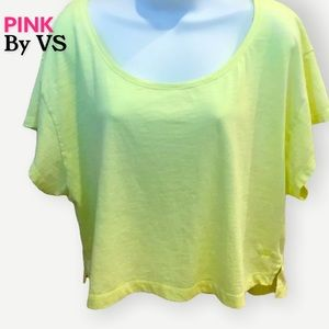 PINK by Victoria's Secret • Neon Yellow Boxy Crop